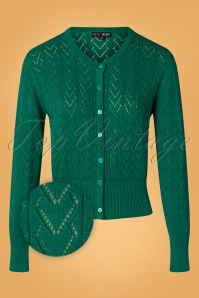 Pretty Vacant 60s Heart Crew Cardigan in Sea Green