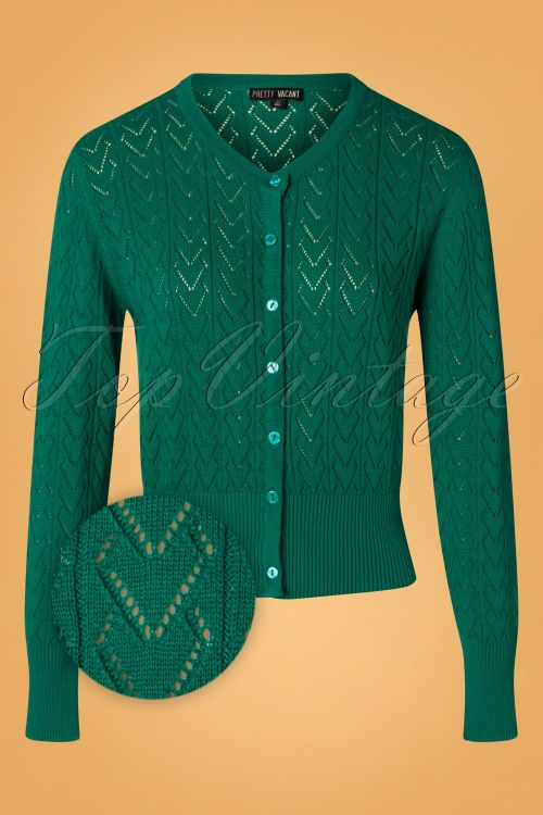 Pretty Vacant 29340 Heart Cardigan in Green 20190917 002Z
