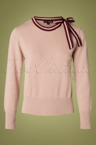 Pretty Vacant 50s Bow Neck Crew Sweater in Pale Pink