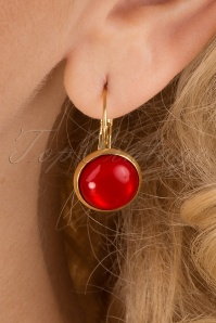 60s Goldplated Dot Earrings in Glossy Red