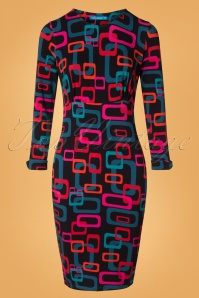 Lien & Giel 60s Montpellier Chain Pencil Dress in Black