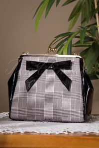50s Caraboo Houndstooth Bag in Black