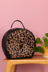 Collectif Clothing 50s Susan Small Travel Bag in Black and Leopard