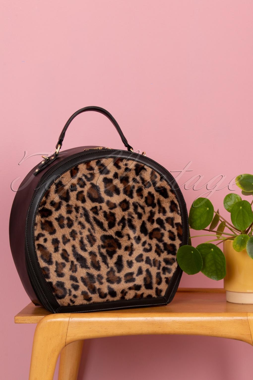 Vintage Handbags, Purses, Bags *New* 50s Susan Small Travel Bag in Black and Leopard £64.09 AT vintagedancer.com