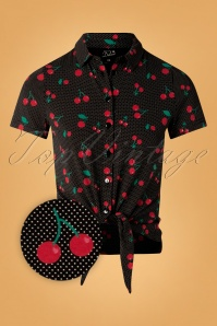 Pussy Deluxe 50s Cherry Dots Short Blouse in Black