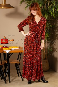 La Petite Francaise 70s Robe Réusitte Maxi Dress in Black and Red