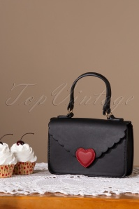50s Martina Love Letter Satchel Bag in Black