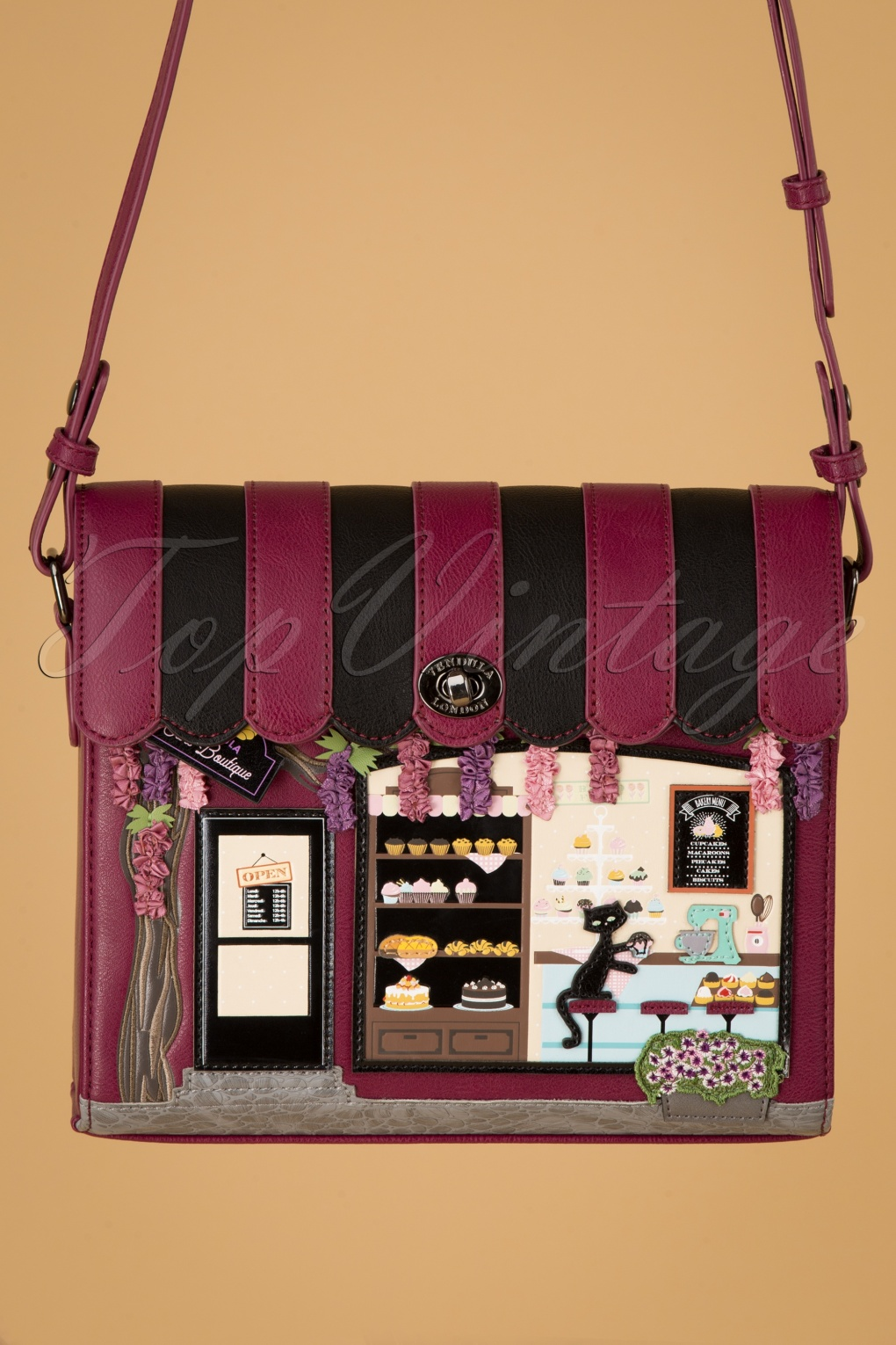 1950s Handbags, Purses, and Evening Bag Styles 50s Cake Boutique Box Bag in Black and Magenta £82.67 AT vintagedancer.com