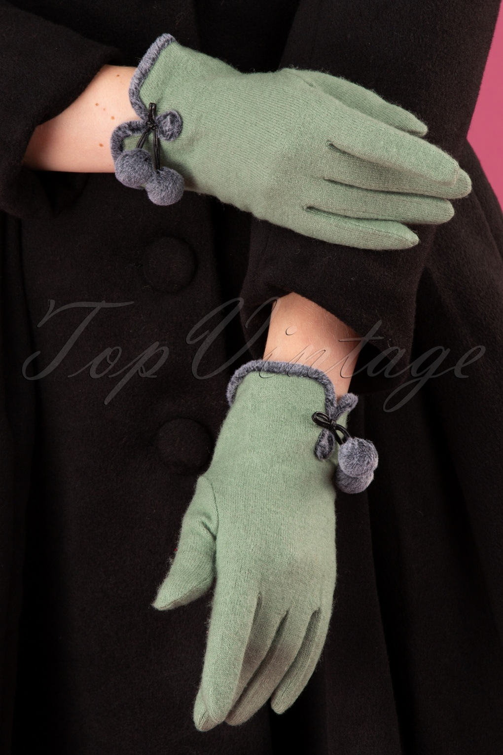 Vintage Style Gloves- Long, Wrist, Evening, Day, Leather, Lace 40s Betty Pom Pom Wool Gloves in Pale Green £23.59 AT vintagedancer.com