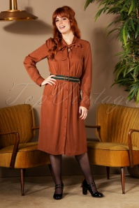La Petite Francaise 70s Robe Raison Midi Dress in Noisette