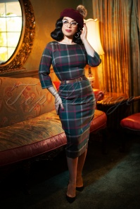 50s Adeline Westie Check Pencil Dress in Multi