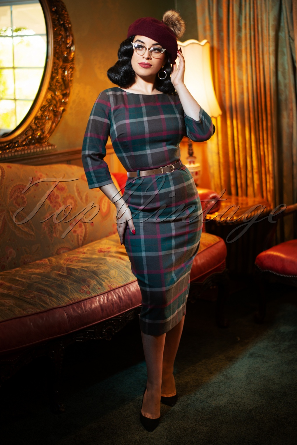 Rockabilly Dresses | Rockabilly Clothing | Viva Las Vegas 50s Adeline Westie Check Pencil Dress in Multi £60.66 AT vintagedancer.com