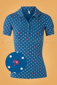 Blutsgeschwister 60s Totally Toto Bubi Shirt in Fairy Flower Blue