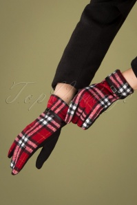 50s Tartan Gloves in Red and Black