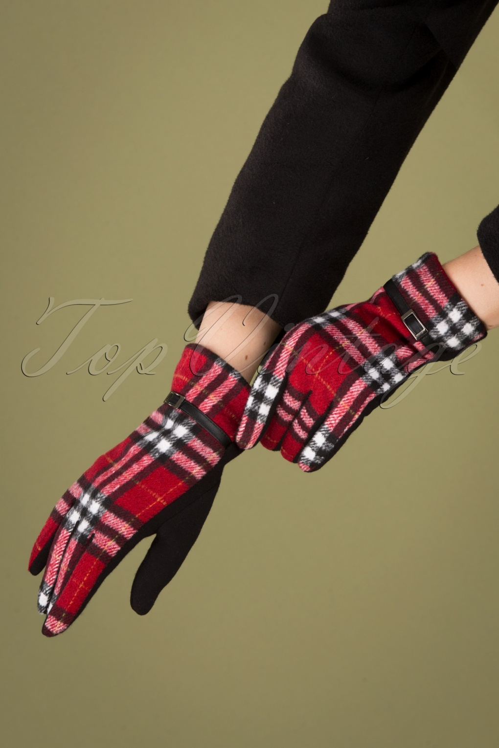 Vintage Style Gloves- Long, Wrist, Evening, Day, Leather, Lace 50s Tartan Gloves in Red and Black £14.83 AT vintagedancer.com