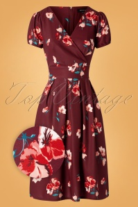 Sheen Tilly Floral Swing Dress Années 50 en Bordeaux