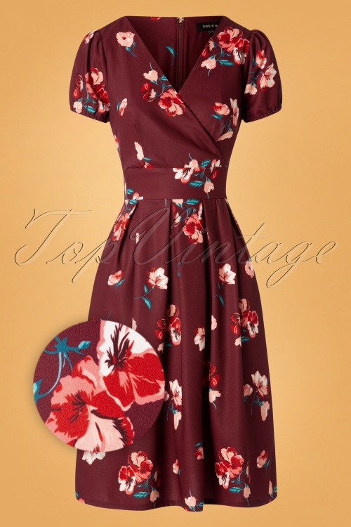 Sheen 30958 Tilly Dress Burgundy Flower 180919 0002Z