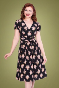 Sheen Kaya Floral Swing Dress Années 50 en Noir