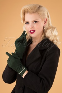 50s Elegant Gloves in Pine Green