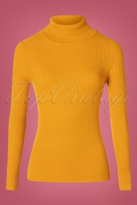 Bunny 60s Spiros Turtleneck Top in Mustard