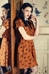 60s Vixey Fox Dress in Rust Brown