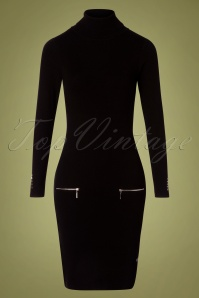 Smashed Lemon Dominica Pencil Dress Années 60 en Noir