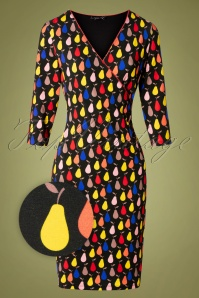 Smashed Lemon 30205 Pencil Dress Black Multi Pears 20190918 0001Z