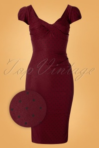 Stop Staring! 50s Billion Dollar Polkadots Dress in Burgundy