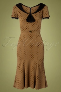 Stop Staring! 40s Raileen Polkadot Pencil Dress in Cappuccino