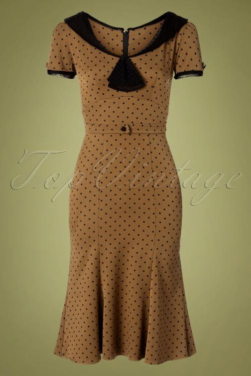 Stop Staring 31093 Pencil Dress Brown Black Polka Dot 190918 0002 W