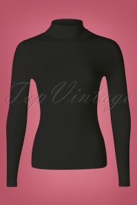 60s Spiros Turtleneck Top in Black