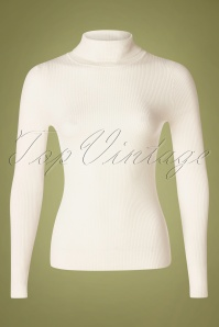 60s Spiros Turtleneck Top in Ivory