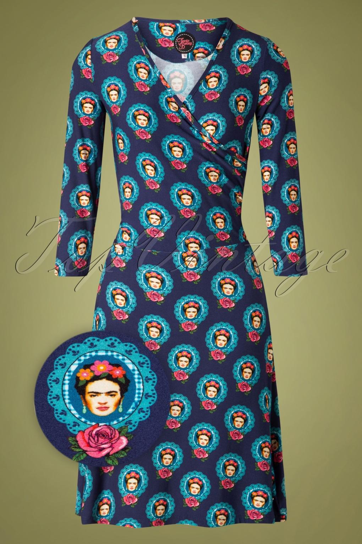 60s tango frida dress in navy blue