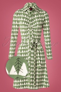 Winter Peaks Button Down Dress Années 60 en Vert