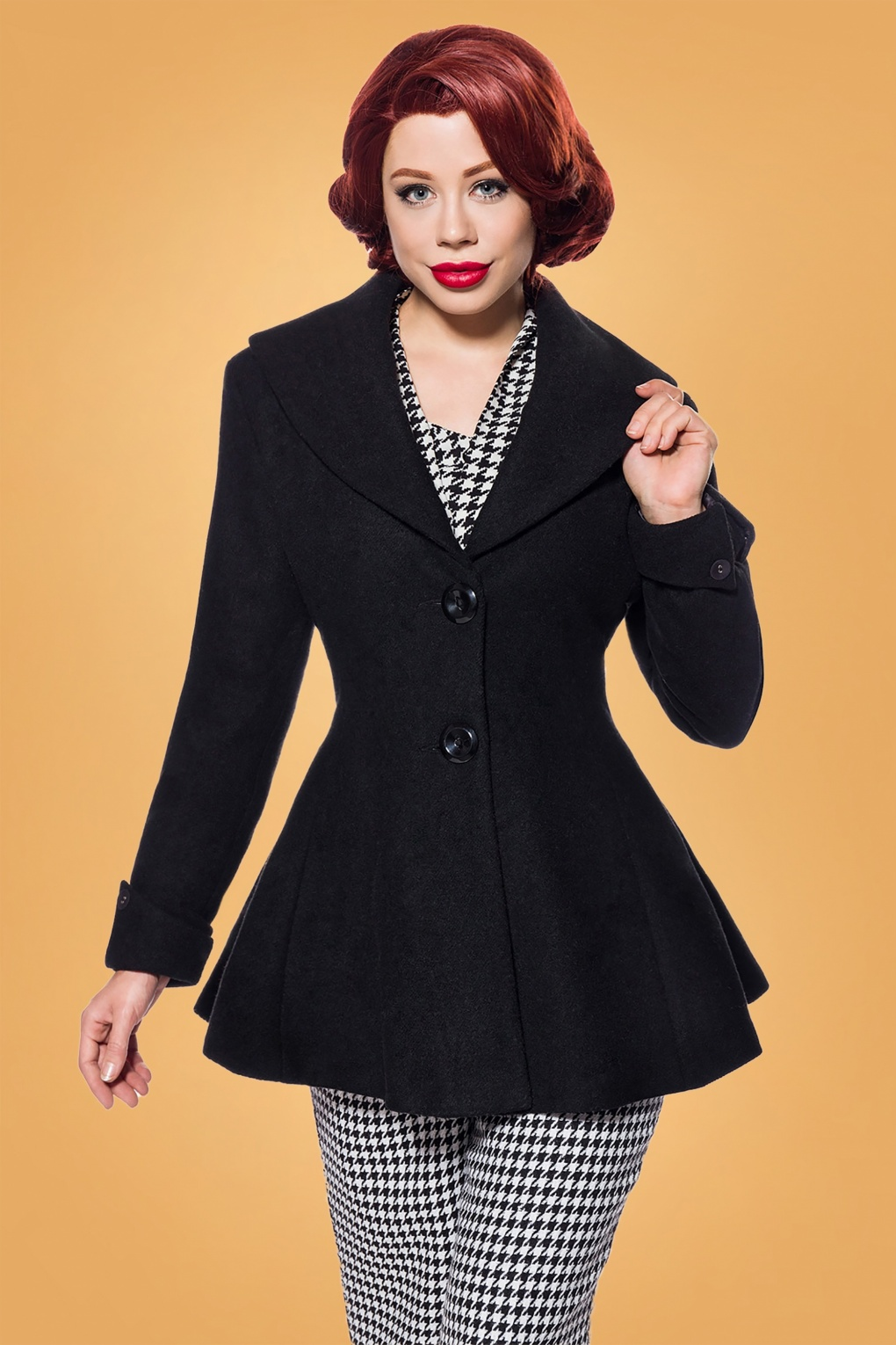 Vintage Coats & Jackets | Retro Coats and Jackets 50s Carlie Jacket in Black Wool £88.46 AT vintagedancer.com