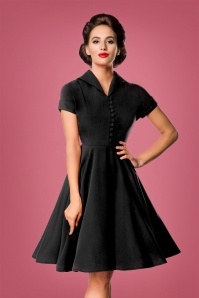 Belsira 40s Valencia Swing Dress in Black