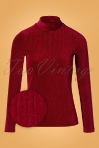70s Pjotr Swan Rollneck Rib Top in Red