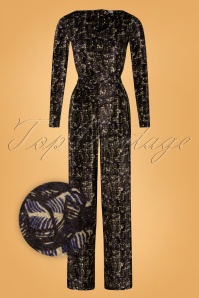Wow To Go! 70s Tanzania Swan Jumpsuit in Navy