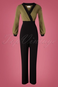 Vintage Chic for TopVintage 50s Caddie Jumpsuit in Khaki and Black