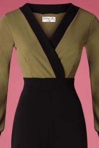 Vintage Chic 31146 Jumpsuit Olive Black 09192019 002V