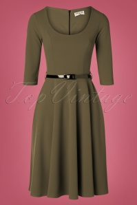 Vintage Chic for TopVintage 50s Juliana Swing Dress in Khaki