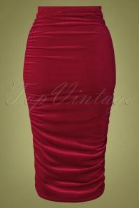 Vintage Chic 31630 Pencilskirt Plain Red Velvet 09192019 006W