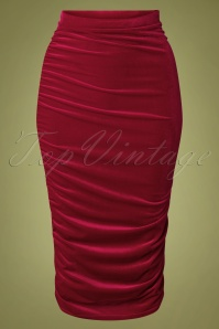 50s Gia Velvet Bodycon Pencil Skirt in Red