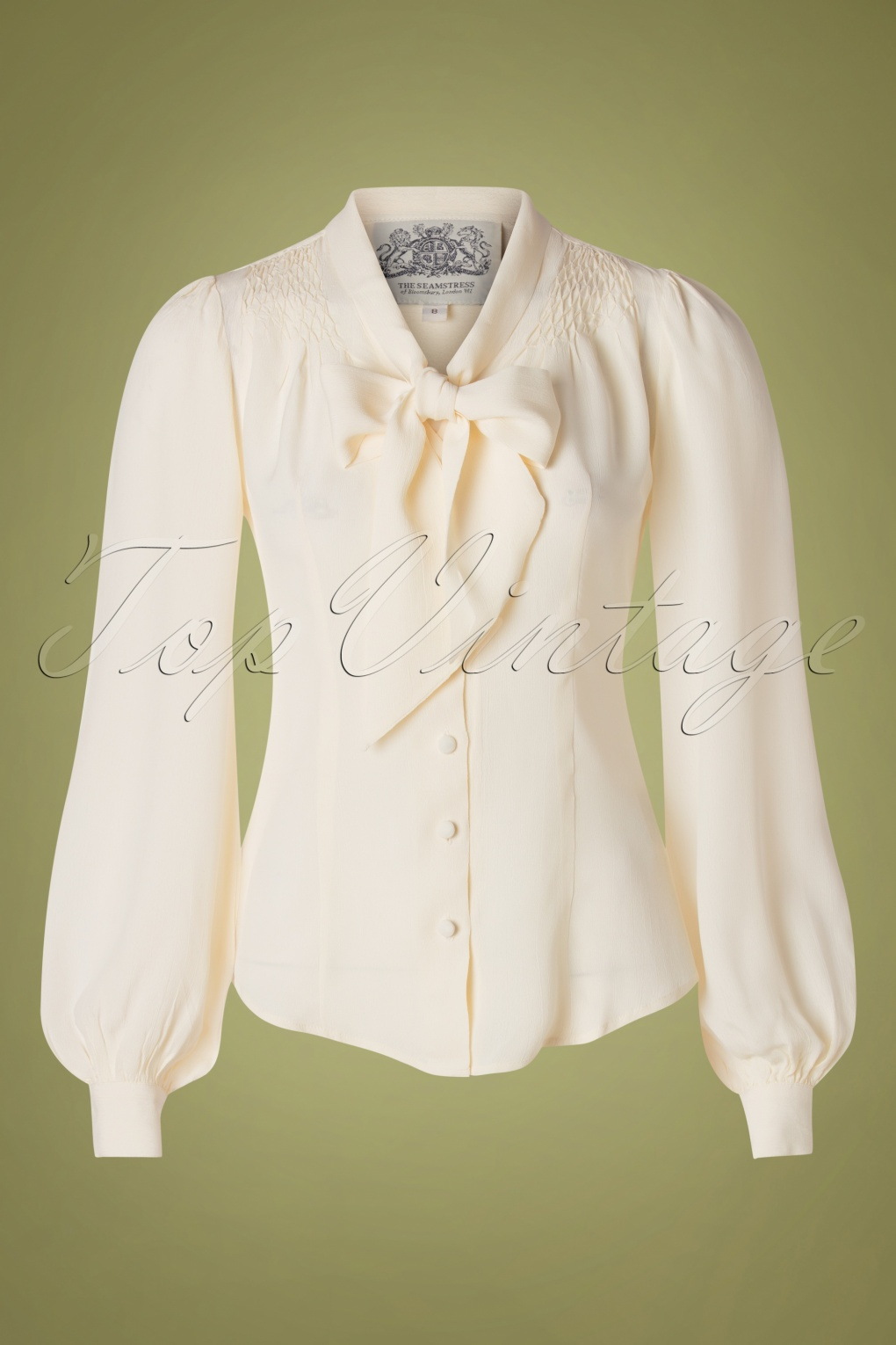 1940s Blouses and Tops 40s Eva Blouse in Cream Crêpe £50.66 AT vintagedancer.com