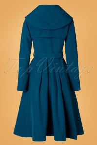 Miss Candyfloss 31054 Trenchcoat Teal Myriam 50s 09192019 007W