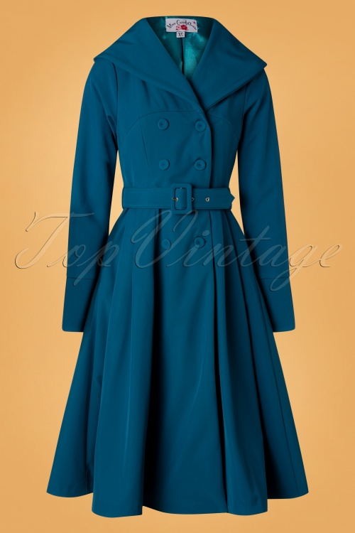 Miss Candyfloss 31054 Trenchcoat Teal Myriam 50s 09192019 002W