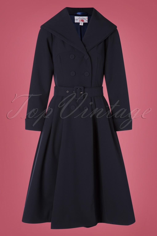 1950s Jackets, Coats, Bolero | Swing, Pin Up, Rockabilly 50s Myriam Lee Water Resistant Trench Coat in Navy £155.78 AT vintagedancer.com