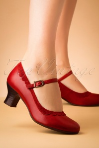 50s Tinka Leather Mary Jane Pumps in Red