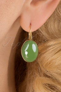 Goldplated Oval Earrings Années 60 en Vert des Prés