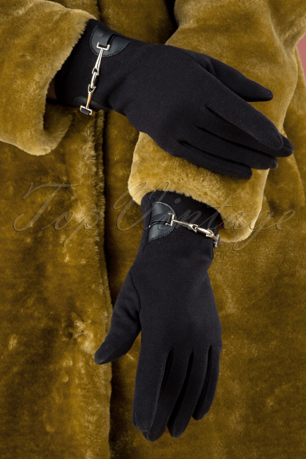 Vintage Style Gloves- Long, Wrist, Evening, Day, Leather, Lace 50s Elegant Gloves in Dark Blue £15.09 AT vintagedancer.com
